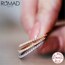 2019 <b>ROMAD 925 Sterling Silver</b> Ring Thin Line Micro Pave CZ ...