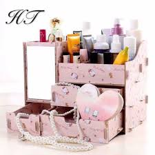 SUPER NO.1   DIY <b>Wooden</b> Cosmetic <b>Box Makeup Organizer</b> With ...