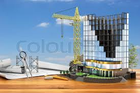abstract 3d of building development concept office building in process of construction 3d illustration stock photo abstract 3d office building