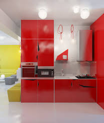 red kitchen plans wood