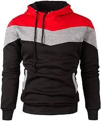 Mooncolour Mens Novelty <b>Color Block</b> Hoodies Cozy Sport Outwear ...