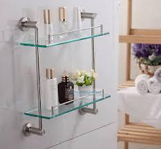 shelf towel bar stainless steel image is loading stainless steel brushed nickel bathroom glass shelf c
