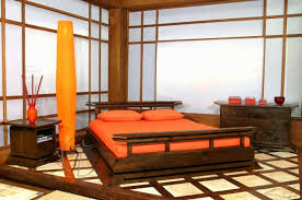 bedroom interesting asian bedroom decor in orange theme with brown wooden bed also dressers plus asian style bedroom design
