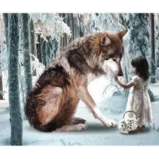 Крест Стич Kit DIY Алмазная вышивка <b>Девушка и волки</b> Полный ...