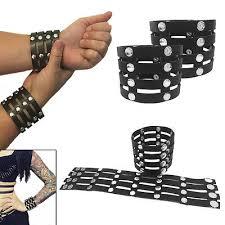 Pair-<b>Black</b> Studded Strap <b>PU</b> Leather Wrist Cuffs Bracelet <b>Harajuku</b> ...
