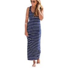 Sunward TM <b>Women Sleeveless Striped</b> Loose Long Beach ...