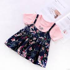 Se7en Kids Girls Summer Dress <b>Korean fake two-piece</b> princess girl ...
