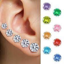 <b>5Pairs</b>/Set Crystal Zircon Fake Diamond <b>Earrings Women</b> Ear Stud ...