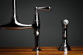 perrin rowe lifestyle: rohl perrin amp rowe bridge kitchen faucet with sidespray handles