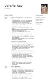 public relations resume samples   visualcv resume samples databasedirector of advertising  amp  public relations resume samples