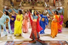 Female Bollywood dancers doing