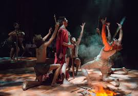 chicago theater review lord of the flies steppenwolf jack ty olwin center and his followers celebrate around the fire in steppenwolf