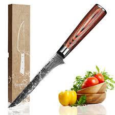 sunnecko 6 inch boning knife kitchen knives japanese 73 layers damascus vg10 super steel core pakka wood handle cutting tools
