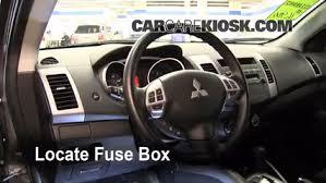 interior fuse box location 2007 2013 mitsubishi outlander 2010 locate interior fuse box and remove cover