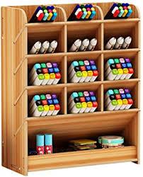 Wooden <b>Pen Holder Storage Box</b>, Multifunctional Desk Organiser ...
