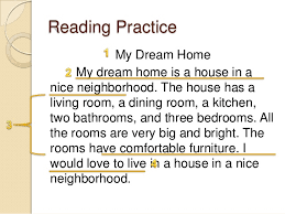 s of a paragraph    sentence    reading practice my dream home