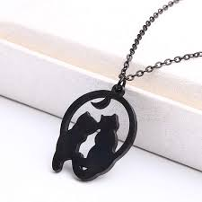 Blinkingstare <b>Crescent</b> Halloween <b>Moon</b> Cat Necklace - <b>Stainless</b> ...