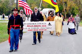 fayetteville breaking news newspaper lincoln county park city re enactors walk along mulberry avenue during saturday s remembrance ceremonies for the bell s route trail of tears which culminated a living history