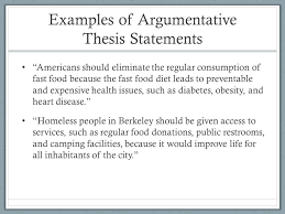 """argument writing an introductory guide for high school students    examples of argumentative thesis statements """"americans should eliminate the regular consumption of fast food because"""