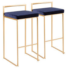 Set Of <b>2</b> Fuji Contemporary Glam <b>Stackable Barstools</b> - LumiSource ...