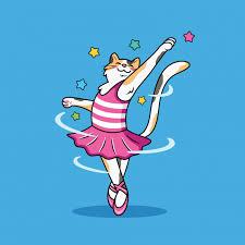 Premium Vector | Cut <b>cartoon cat</b> doing ballet with <b>sweet</b> smile