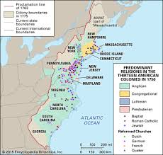 Map Still A variety of religions were practiced in the    American colonies  Kids Britannica