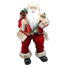 Northlight <b>24</b>-in Chic Sitting <b>Santa Claus Christmas</b> Figure with Gift ...
