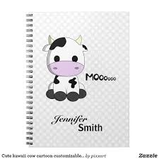 <b>Cute kawaii</b> cow cartoon customizable <b>girls notebook</b> | Zazzle.com ...