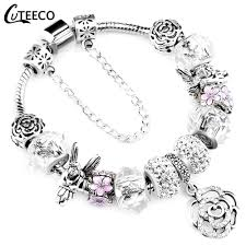 CUTEECO 925 <b>Fashion Silver</b> Charms <b>Bracelet Bangle</b> For Women ...