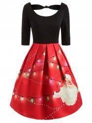 Half Sleeve <b>Christmas Santa Print</b> Dress | Red womens fashion ...