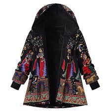 TITAP <b>2018 Fashion</b> Womens <b>Winter Warm</b> National Outwear Print ...
