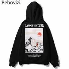 <b>Bebovizi Japanese</b> Streetwear <b>Style</b> Waves <b>Cat</b> Print Pullover ...