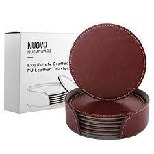 Buy Nuovoware <b>Coasters</b>, [6-Pack] Premium <b>PU</b> Leather <b>Coasters</b> ...