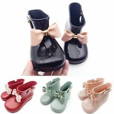 <b>Cute Toddler Baby Kids</b> Girls Jelly Candy Color Bow Shoes Mid Calf ...