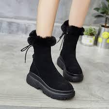 <b>SWONCO</b> Black <b>Shoes Winter Snow Boots</b> Women Genuine ...