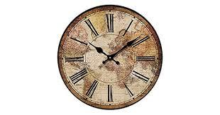 (30cm ) - HUABEI <b>Retro Wall Clock</b>, <b>Vintage</b> World Compass Map ...