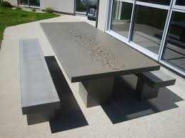 patio table benches concrete