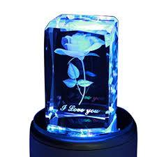 LIWUYOU Crystal Rose Music Box Personalized Custom Text <b>3D</b> ...