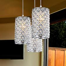 decoration stunning pendant lighting three lamps crystal tube shape silver color metal tubing breathtaking modern lightning breathtaking modern kitchen lighting