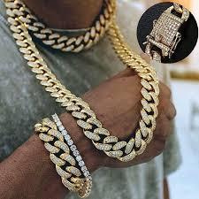 <b>Luxury</b> Men <b>Necklace</b> Cuban Link Gold Thick Chain Hip Hop ...