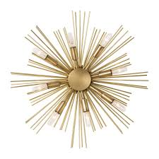 metal star wall decor: starburst wall decor in gold theme plus lights for wall ideas