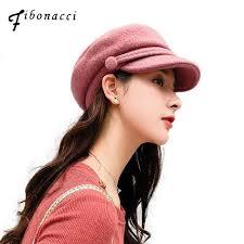 <b>Fibonacci Top Quality</b> Wool Autumn Solid Color Military Cap Knitting ...
