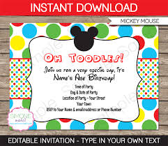 mickey mouse party invitations template rd birthday parties mickey mouse party invitations clubhouse birthday party editable diy theme template instant