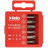 <b>Набор бит Felo</b> Profi <b>PH</b>/PZ 50 мм 6 предметов в кейсе, цена ...