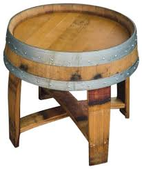 outdoor finish wine barrel side table with cross braces rustic outdoor side tables alpine wine design outdoor