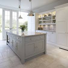 contemporary shaker kitchen mid sized transitional open concept kitchen photo in manchester with gray cabinets granite cheap island lighting
