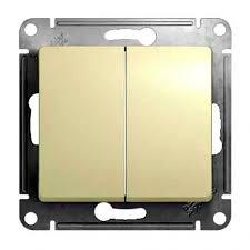 <b>Проходной выключатель двухклавишный без</b> рамки бежевый ...