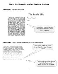 scarlet ibis works cited examples for short stories for students