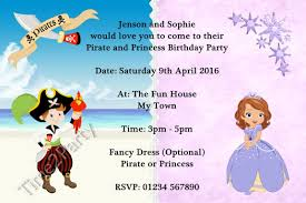 personalised birthday party invitations pirate and princess personalised birthday party invitations pirate and princess birthday party invites