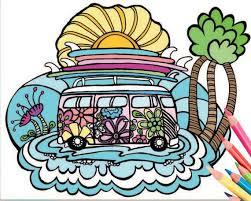 VW <b>Surf Bus</b> Coloring Page - Downloadable Surf Art Coloring Art ...